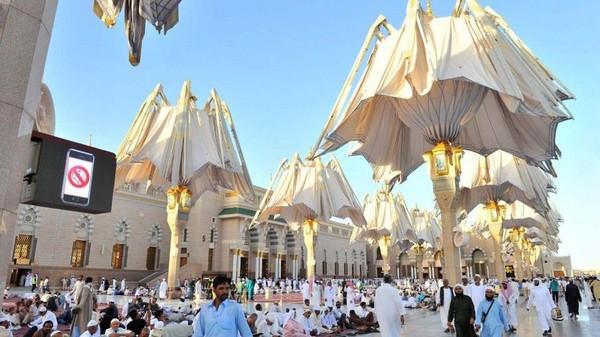 مسجد نبوی اور اس کے صحنوں میں ہوا کو ٹھنڈا کرنے کا نظام
