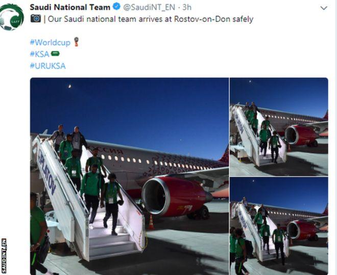 فیفا ورلڈ کپ 2018: سعودی فٹبال ٹیم کے طیارے کے انجن میں آگ، ٹیم بحفاظت منزل پر پہنچ گئی