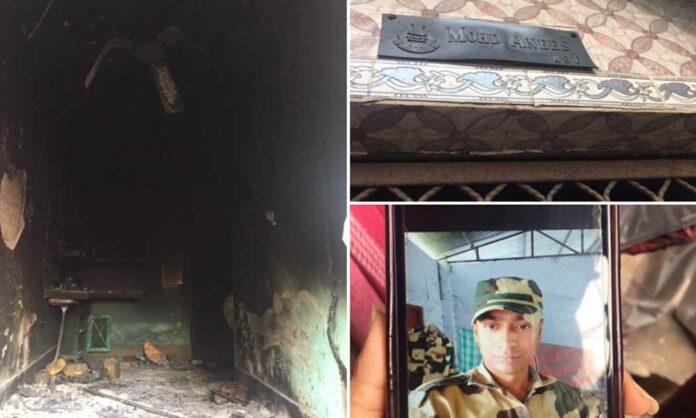 दंगाइयों ने BSF जवान मोहम्मद अनीस सहित मुसलमानों के 35 घरों को जलाकर राख कर दिया